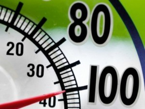 A thermometer on a hot day.