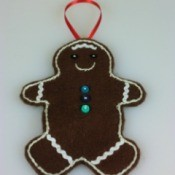 Making Felt Gingerbread Man Ornaments