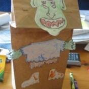 gremlin like paper bag puppet