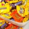 A big bowl of Halloween candy.
