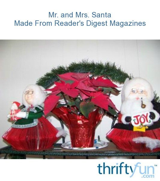 Mr. And Mrs. Santa Made From Reader's Digest Magazines