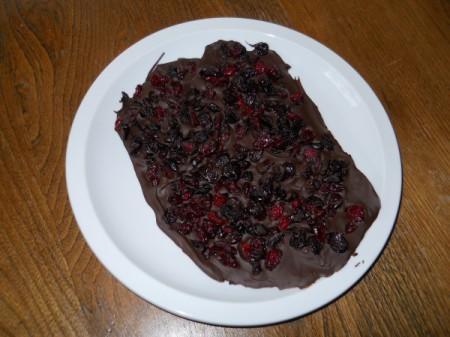 Cooled chocolate bark.