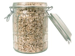 A jar full of raw oats.