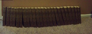 Set of encyclopedias on carpet.