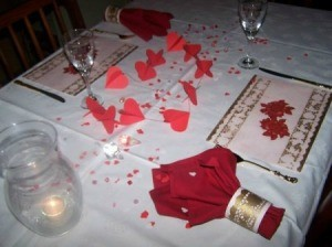 A Valentine's Day decorated table