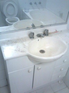 Sink with hair dye stains
