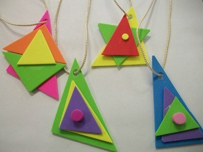 brightly colored foam jewelry