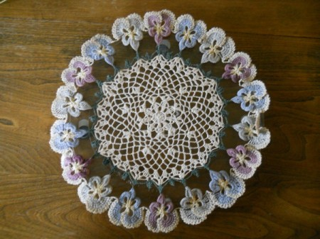 Doily on microwave glass plate.