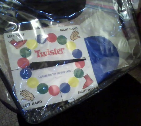 Twister in blanket bag.