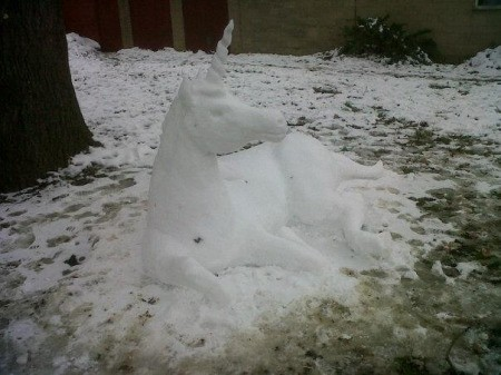 Unicorn made from snow.