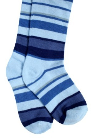 Blue striped socks.