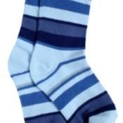 Blue striped socks.