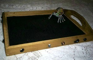 Decorated wood tray.