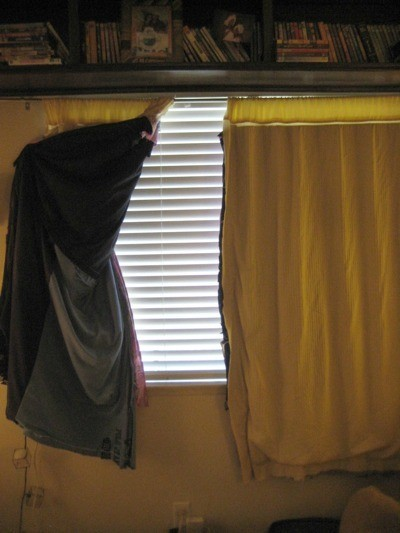 Street side of homemade curtains.