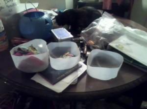 Three milk jug lower portion on table.