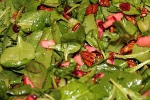 Cran-Apple Spinach Salad with Spiced Pecans