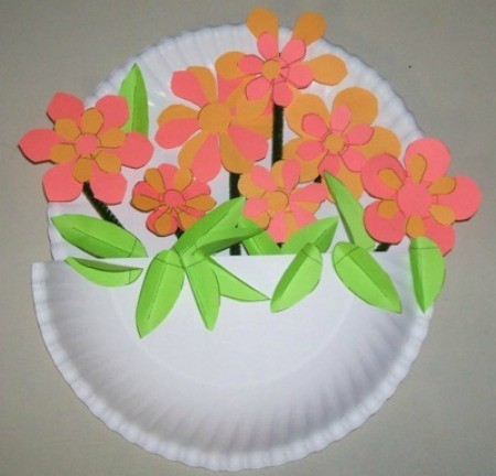 Making Paper Plate Flower Baskets