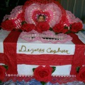 Decorated Valentine's Day mailbox.