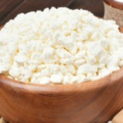 Homemade soft cheese or cottage cheese.