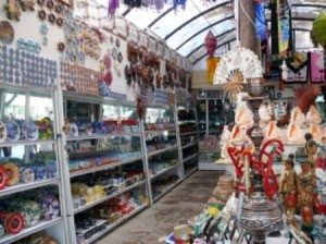 Buying souvenirs in a Turkish shop.
