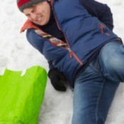 man slipping on ice