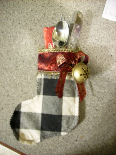 Stocking for holding silverware.