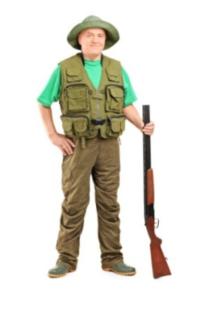A man in his hunting clothing.