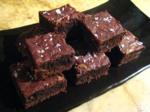 A plate of mini sea salt caramel brownies.
