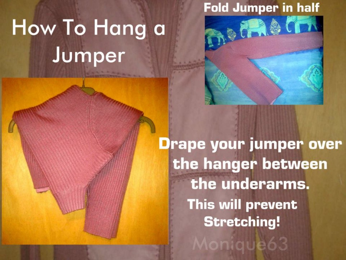 332477f16 Just fold your jumper in half then drape over the hanger from between the  underarms.