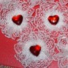 Lacy heart decorations.