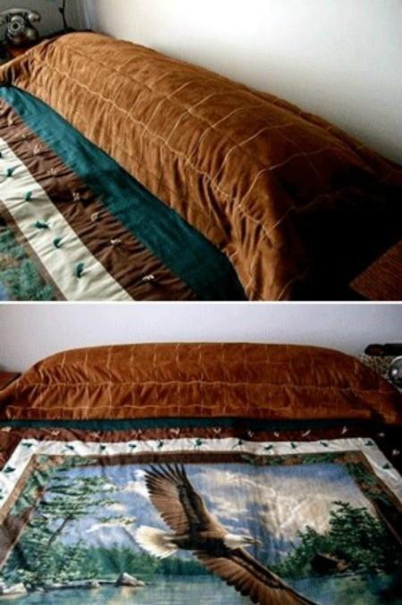 Brown draped pillow topper.