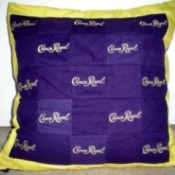 A pillow made from Crown Royal bags.