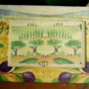 Olive orchard motif frame.