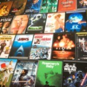 a large collection of DVDs