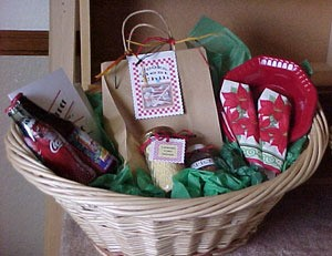 """A gift basket with a theme of """"Dinner and a Movie""""."""
