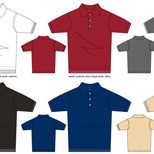 Colored outline drawings of shirts.
