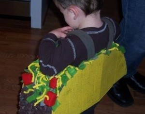Child dressed as a taco.