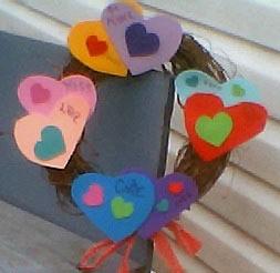 colorful hears on a wreath