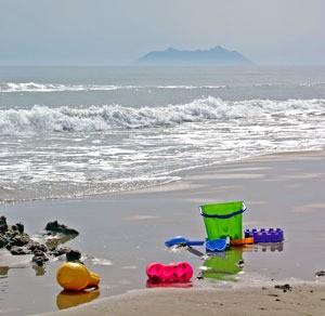 beach toys at the ocean