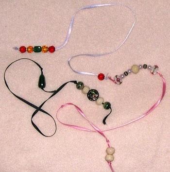 Ribbon and bead bookmarks.