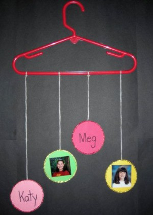 Clothes hanger with friends names and photos.