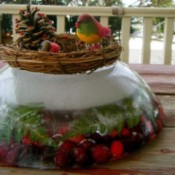 decorated outdoor ice wreath