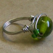 Wire ring with green stone.