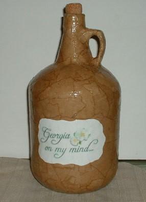 Decoupaged jug.
