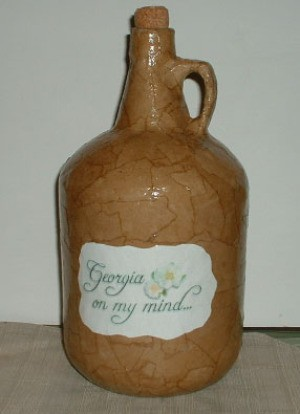 Decoupaged jug.