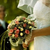 A bride with her bouquet.