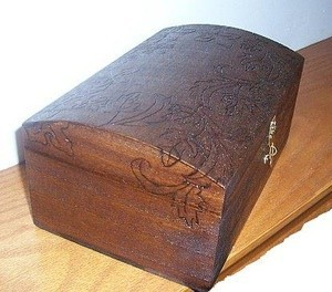 Wood burned jewelry box.