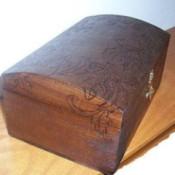 Wood burned jewelry box.