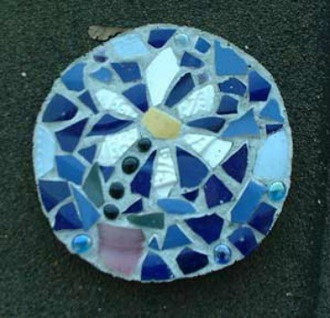 Mosaic blue stepping stone.