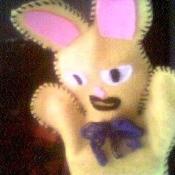 yellow felt bunny puppet